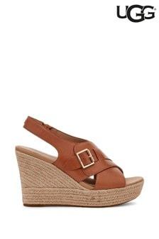 UGG® Tan Claudeene Buckle Platform Wedge Sandals