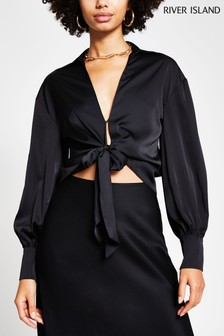 River Island Black Tie Front Luxe Shirt