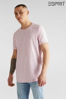 T-Shirt mit kurzem Krempelarm, pink