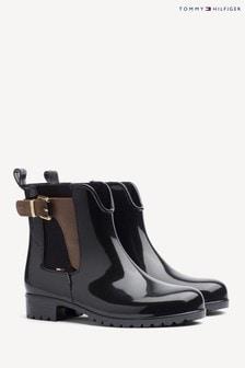 Tommy Hilfiger釦環短雨鞋