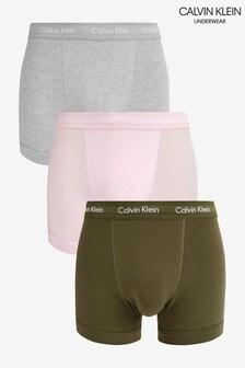 Lot de 3 caleçons Calvin Klein verts stretch en coton