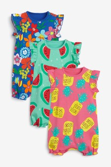 3 Pack Fruit Floral Rompers (0mths-3yrs)