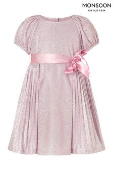Monsoon Pink Baby Mercury Pleat Dress