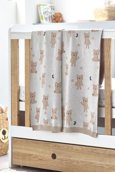 100% Cotton Teddy Bear Knitted Blanket