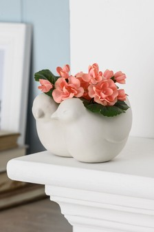 Artificial Flowers In Love Bird Pot