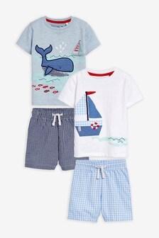 Набор пижамных комплектов с шортами в клетку и с корабликами, 2 компл. (9 мес. - 8 лет)
