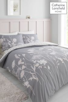 Catherine Lansfield Pink/Grey Meadowsweet Duvet Cover and Pillowcase Set