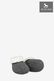 The Little Tailor Charcoal Knitted Plush Lined Booties