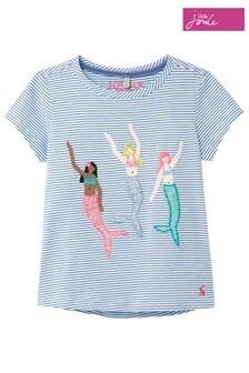 Joules - Astra - Blauw gestreept T-shirt met meerminnenapplicatie