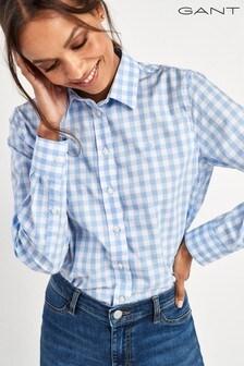 Chemise fine à carreaux vichy GANT bleue