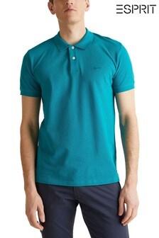 Esprit Piqué-Poloshirt, blau