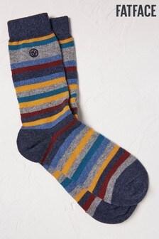 FatFace Blue Stripe Wool Boot Socks