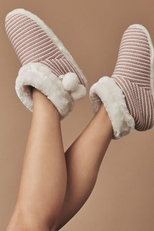 Crew Clothing Pink Boot Slippers