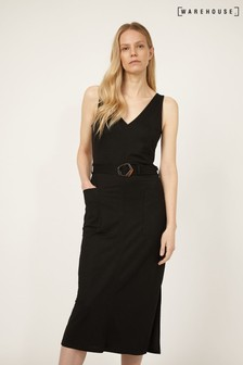 Warehouse Black V-Neck Sleeveless Midi Dress