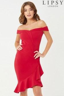 Облегающее платье с открытыми плечами и оборкой на подоле Lipsy
