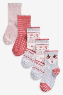 5 Pack Reindeer Ankle Socks