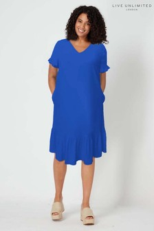 Live Unlimited Blue Frilly Shift Dress