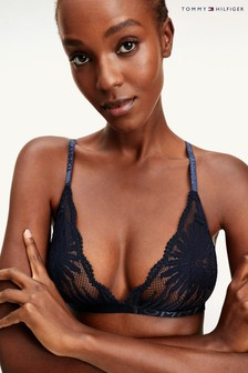Tommy Hilfiger Blue Tropical Lace Triangle Bra