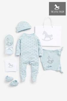 طقم هدية بطانية وملاءة وحذاء أزرق من The Little Tailor