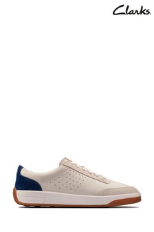 Clarks White/Blue Hero Air Lace Shoes