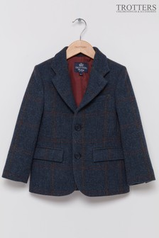 Trotters London Navy Check Samuel Blazer