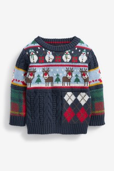 Splice Check And Cable Christmas Jumper (3mths-7yrs)