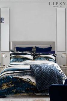 Lipsy Navy Renai 200 Thread Count 100% Cotton Duvet Cover and Pillowcase Set