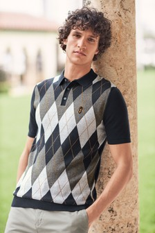 Argyle Pattern Cotton Short Sleeve Polo