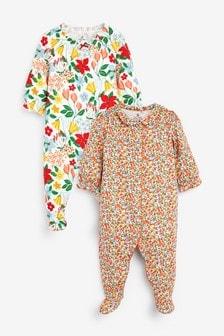 Schlafanzüge mit buntem Blumenmuster, 2er-Pack (0Monate bis 2Jahre)