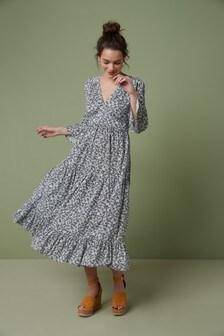 فستان قفطانمتوسط الطول طبقات