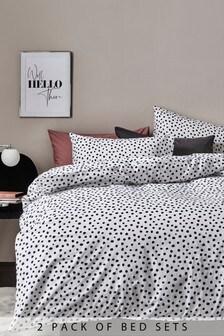 Bett- und Kissenbezüge im Wendedesign mit Animalprint im 2er-Pack