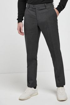 Wool Mix Textured Suit: Trousers
