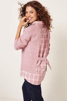 Check Shirt Open Back Layer Top