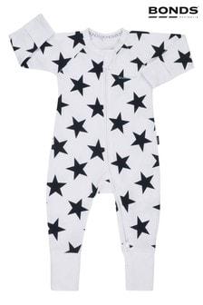 Pijama întreagă cu fermoar Bonds albă
