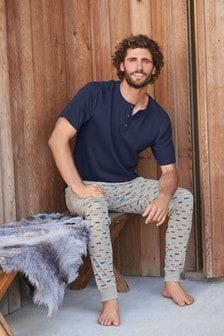 Пижамный комплект с брюками на манжетах