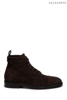 AllSaints Chocolate Harland Suede Lace-Up Boots