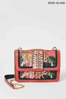 River Island Pink Bright Tropical Embellished Satchel