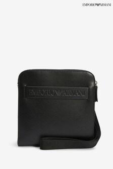 Emporio Armani Black Embossed Cross Body Bag