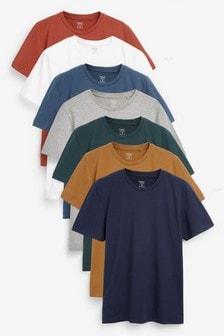 Regular Fit T-Shirts mit Rundhalsausschnitt, 7er-Pack