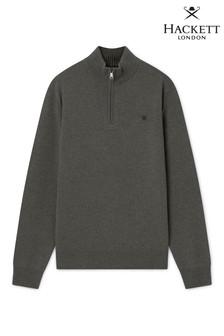 Hackett Black Lambswool Zip Sweatshirt