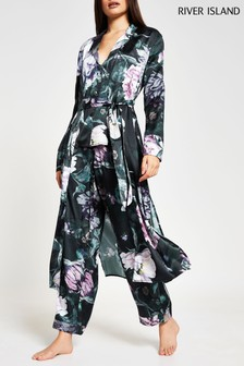 River Island Black Floral Print Satin Robe