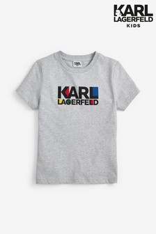 Karl Lagerfeld Kids Grey Text T-Shirt
