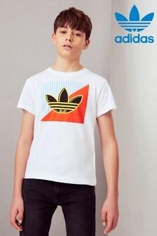 Biele hranaté tričko adidas Originals