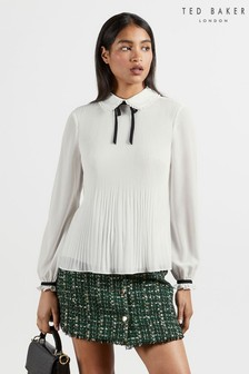 Ted Baker Beriitt Micro Pleat Top With Bow