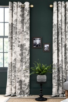 Grey Country Tree Eyelet Curtains