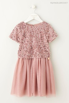 Angel & Rocket Pink Sequin Top Animal Print Dress