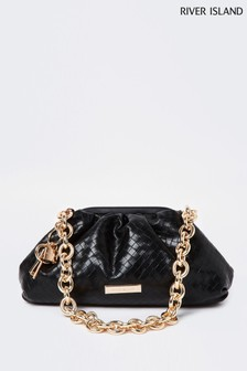 River Island Black Weave Chain Ruched Bag