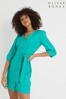 Oliver Bonas Green Soft Wrap Mini Dress