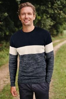 Pullover in Blockfarben und Zierknoten