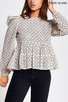 River Island Beige Lace Puff Sleeve Blouse